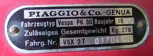 Typenschild PK50s Lusso