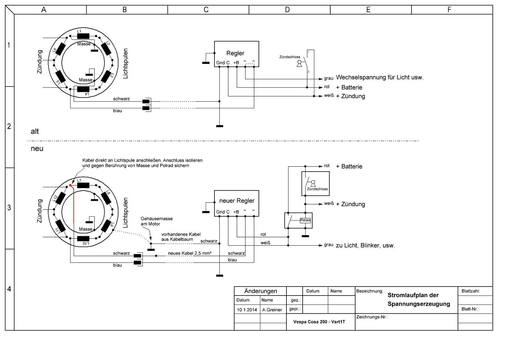Cosa 200 FL - Umbau Lichtspule und Spannungsregler - Largeframe ...