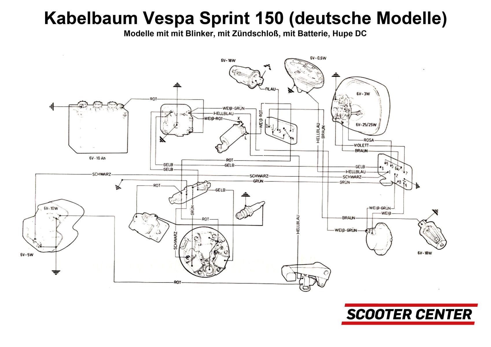 Schaltplan deutsche Sprint 150 Veloce mit Batterie ...