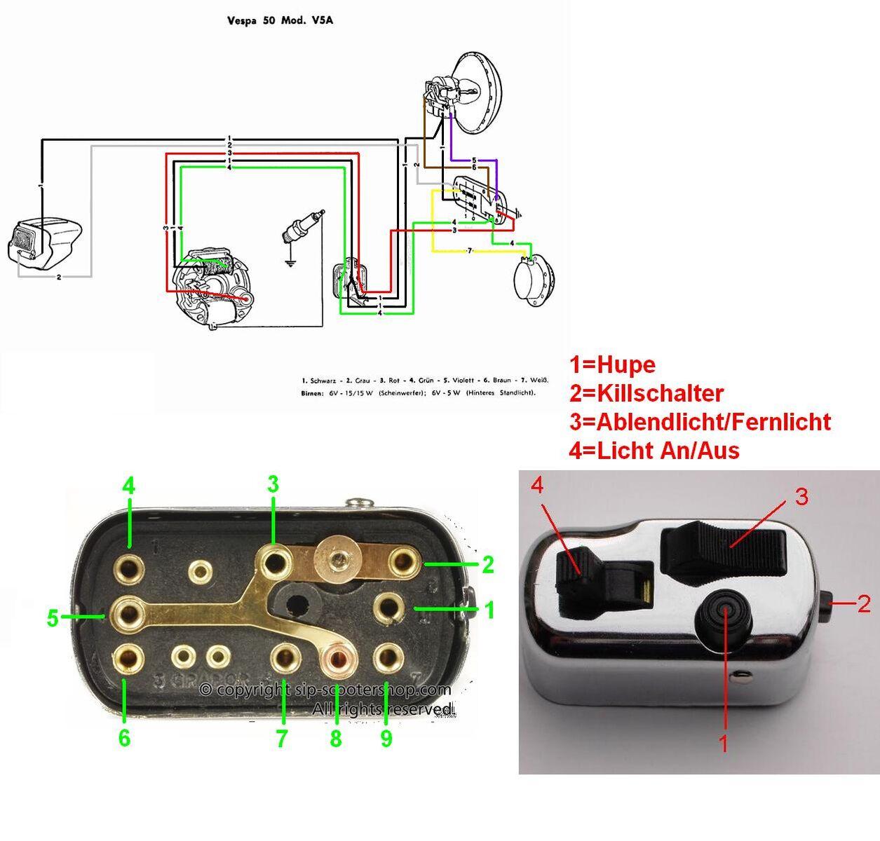 Probleme beim Anschluß des Lichtschalters V50 R - Elektrik - Dein ...