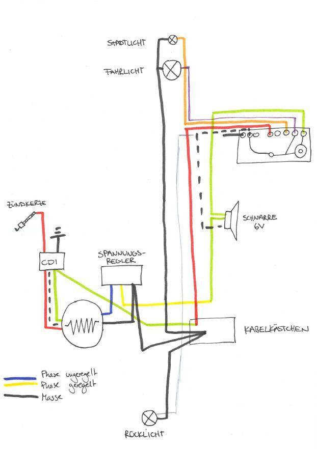 6V-Special auf 12V ohne Blinker und Bremslicht umbauen. Schaltplan ...